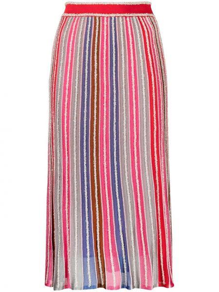 С завышенной талией красная юбка миди в полоску M Missoni