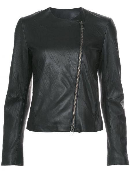 Черная кожаная куртка круглая Vince