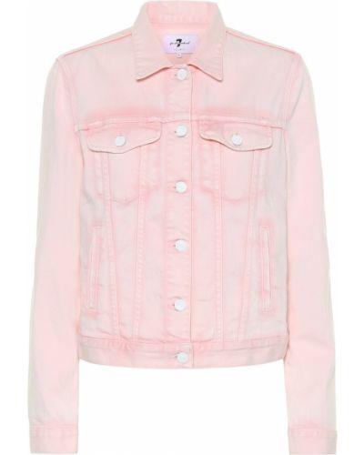 Кожаная куртка джинсовая розовая 7 For All Mankind