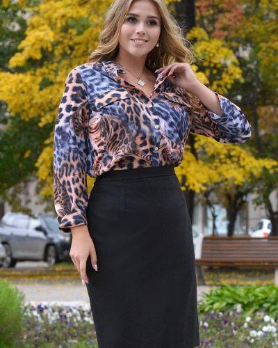 Повседневная с рукавами блузка с воротником Odetta