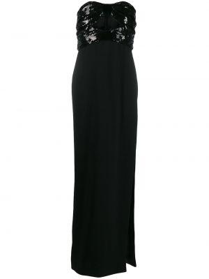 Шелковое вечернее платье с пайетками на молнии с вырезом Saint Laurent