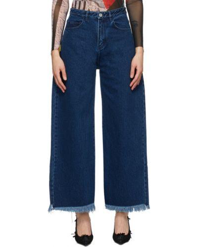 Bezpłatne cięcie niebieski jeansy chłopaki z kieszeniami z mankietami Marques Almeida