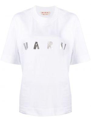 Biały t-shirt bawełniany krótki rękaw Marni