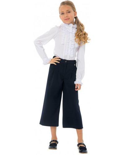 Школьная блуза на пуговицах с оборками с манжетами карамелли