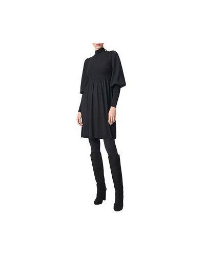 Повседневное шерстяное черное повседневное платье Luisa Spagnoli