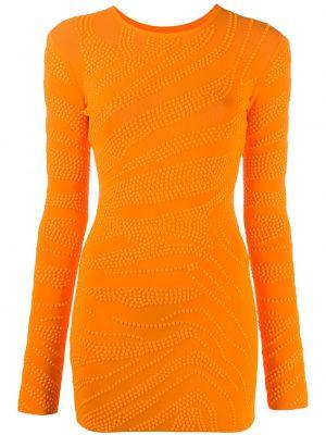 Нейлоновое прямое приталенное платье с вырезом David Koma