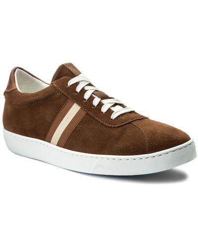 Skórzany sneakersy zamsz brązowy Gino Rossi