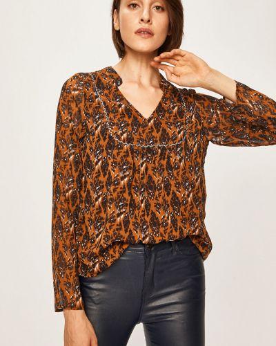 Блузка с длинным рукавом с V-образным вырезом черная Answear
