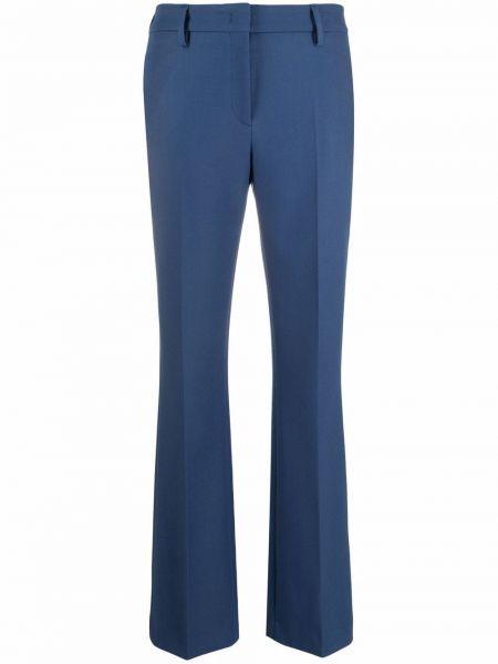 Синие шерстяные брюки с манжетами с завышенной талией Piazza Sempione