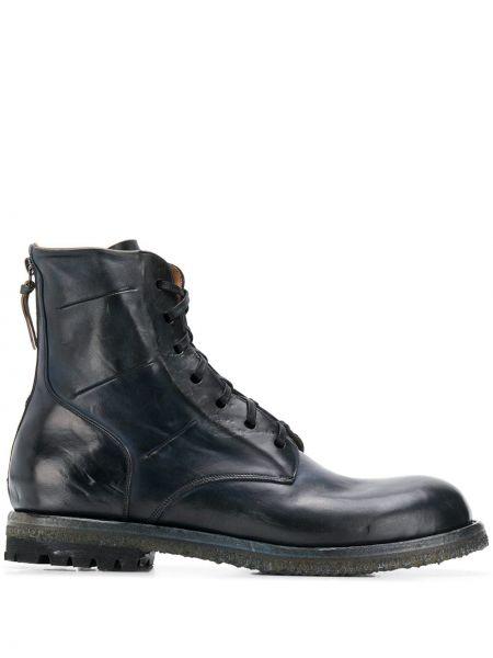 Синие кожаные кожаные ботинки на шнуровке на каблуке Silvano Sassetti