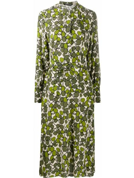 Шелковое платье миди - зеленое Luisa Cerano