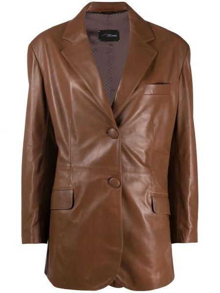 Коричневый кожаный пиджак с карманами Manokhi