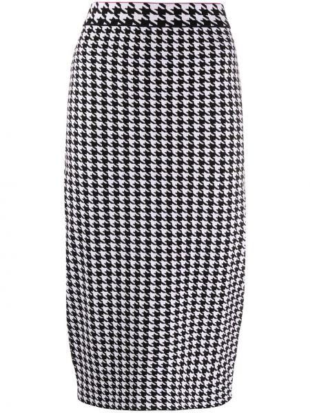 Черная с завышенной талией юбка миди из вискозы Escada