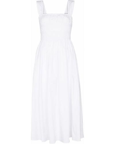 Белое хлопковое платье миди без рукавов Staud