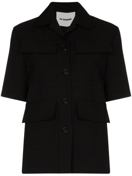 Czarna koszula krótki rękaw elegancka Jil Sander