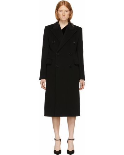 Черное пальто длинное Saint Laurent