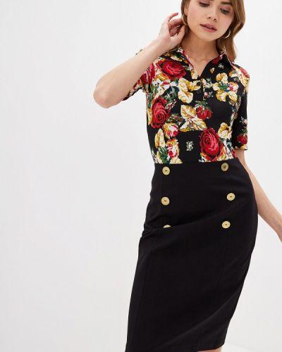 С рукавами черная блузка Арт-Деко