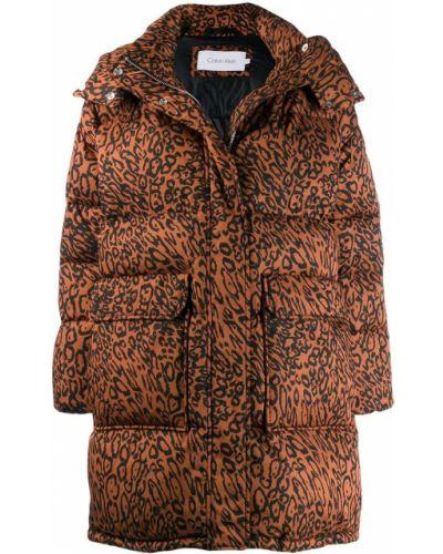 Коралловое длинное пальто Calvin Klein