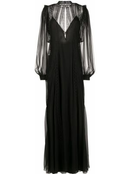 Вечернее платье на пуговицах со вставками Alberta Ferretti