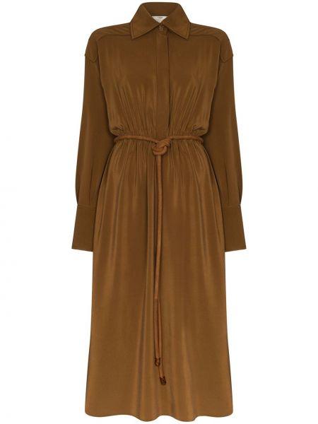 Свободное шелковое платье макси свободного кроя Fendi