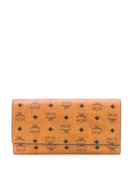 Czarny portfel skórzany z printem Mcm