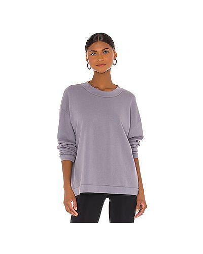Хлопковый фиолетовый свитер крупной вязки Lna