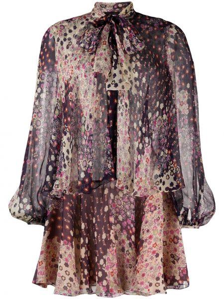 Платье мини с цветочным принтом с рукавами Dsquared2