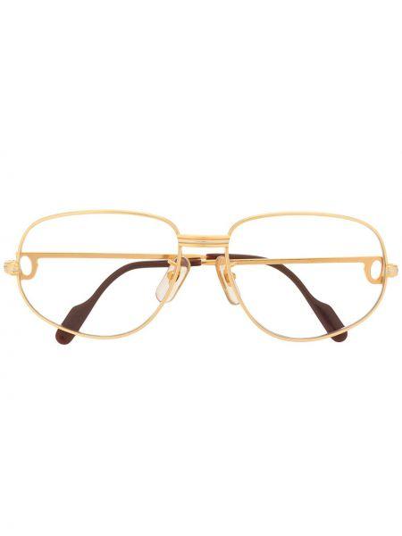 Brązowe złote okulary pozłacane Cartier
