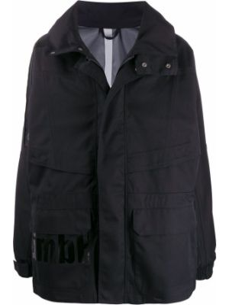 С рукавами синее длинное пальто с воротником с карманами Gmbh