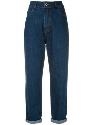 С завышенной талией прямые джинсы бойфренды с карманами Egrey