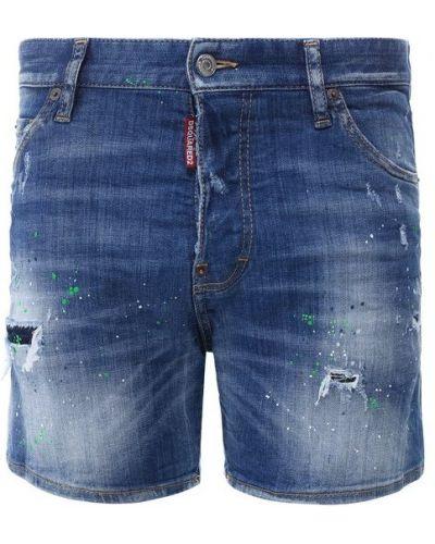 Джинсовые шорты хлопковые с рисунком Dsquared2
