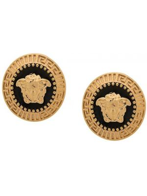 Czarne złote kolczyki sztyfty Versace