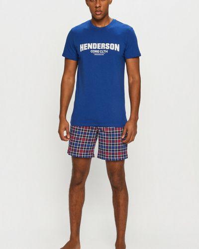 Niebieska piżama bawełniana z printem Henderson
