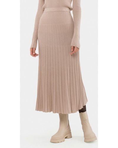 Бежевая плиссированная юбка Mr520