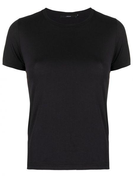 Хлопковая с рукавами повседневная черная рубашка с коротким рукавом J Brand