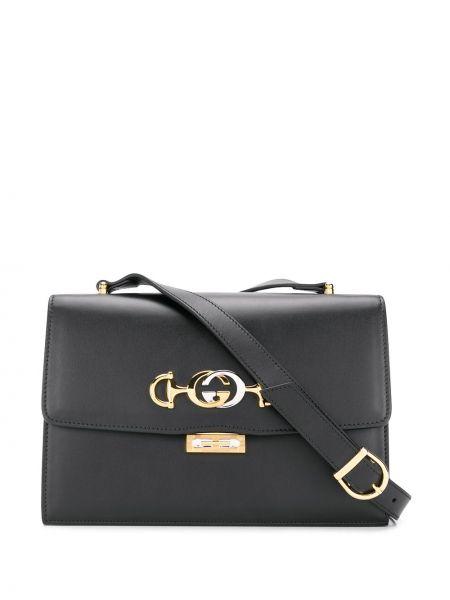 Черная сумка через плечо с перьями на молнии металлическая Gucci