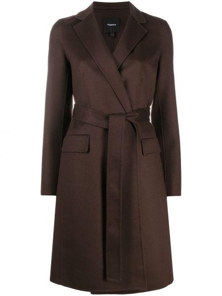 Коричневое шерстяное длинное пальто с поясом Theory