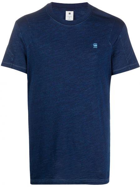 Хлопковая темно-синяя деловая прямая рубашка с короткими рукавами G-star Raw