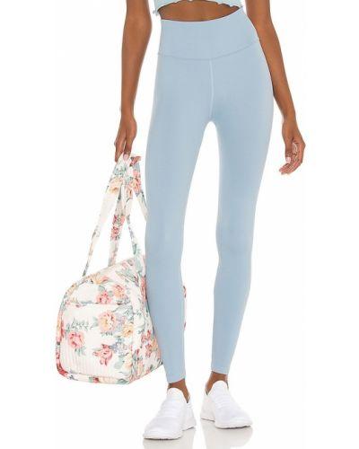 Niebieskie legginsy prążkowane z nylonu Spiritual Gangster