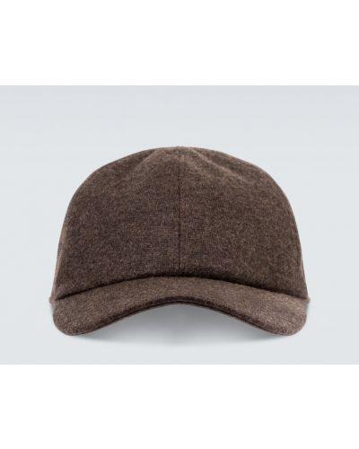 Z paskiem brązowy klasyczny kaszmir czapka z daszkiem Loro Piana
