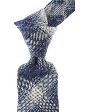 Biały krawat z jedwabiu w kratę Belvest