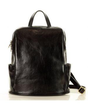 Czarny plecak skórzany elegancki Mazzini