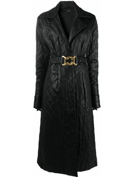 Прямое стеганое черное длинное пальто с воротником Dodo Bar Or