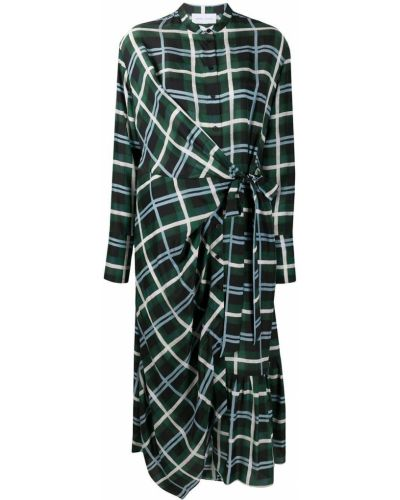Зеленое платье с запахом на пуговицах с воротником Christian Wijnants