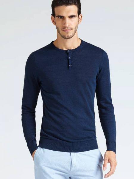 Niebieski sweter bawełniany zapinane na guziki Guess