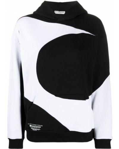 Bawełna czarny bluza z kapturem z kapturem z długimi rękawami Givenchy