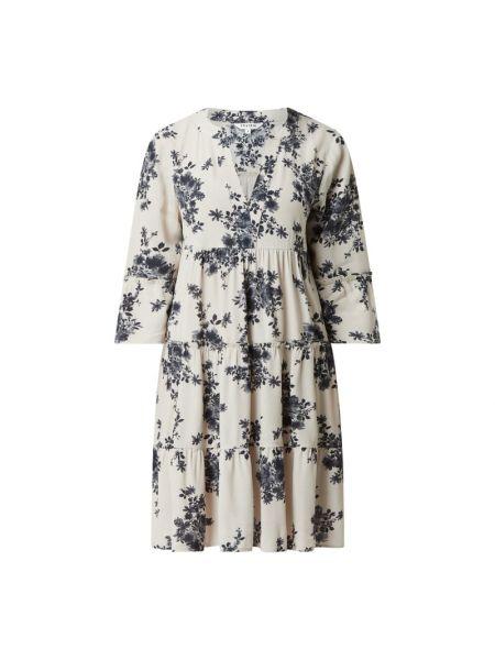 Beżowa sukienka mini rozkloszowana z wiskozy Review