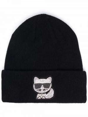 Шерстяная шапка бини - черная Karl Lagerfeld