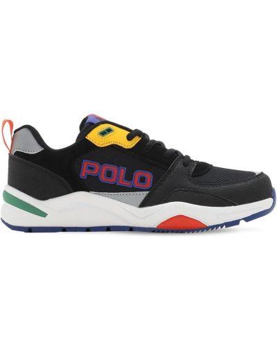 Ażurowy czarny sneakersy na sznurowadłach Ralph Lauren