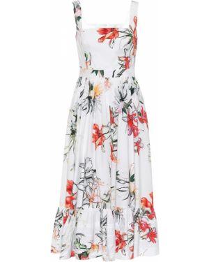 Летнее платье с цветочным принтом из поплина Alexander Mcqueen